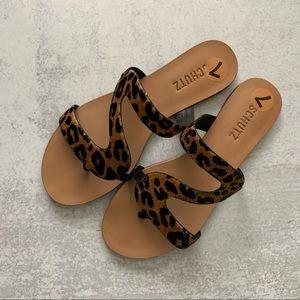 SCHUTZ Erzeli Leopard Print Calf Hair Sandals
